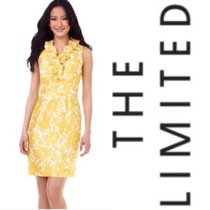 The Limited Dresses & Skirts - The Limited Yellow & White Floral Dress w/ Ruffle