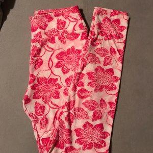 LulaRoe OS Pink Floral Leggings
