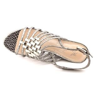 {marc fisher} 🌿 'butter' silver croc metal wedges