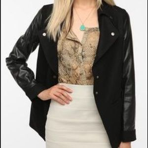 Sparkle and Fade black faux leather sleeve jacket