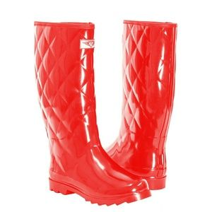 Women Tall Rain Boots, #1411, Red Quilt