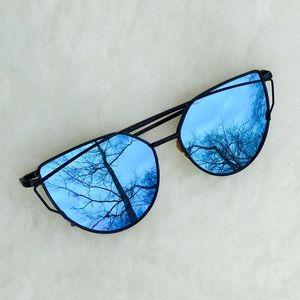 Blue Mirrored Cat Eye Sunglasses