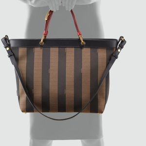 ce46563a36 Fendi Bags - Fendi Pequin Striped Shoulder Tote Bag