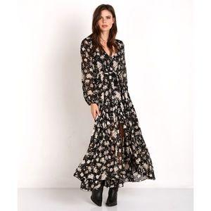 Gypsy Dancer Maxi Dress Caviar Floral By Spell