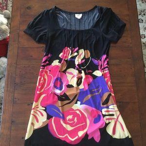 ECI Dresses & Skirts - eci New York Black Dress w/ Floral Print