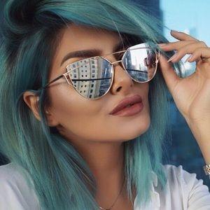 Gold Frame Silver Mirrored Cat Eye Sunglasses
