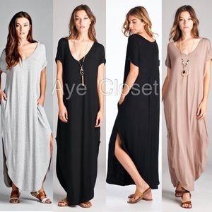 Dresses & Skirts - Oversized loose fit slit pocket boho maxi dress