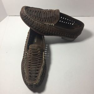 Florsheim Other - Florsheim Dark Brown Woven Leather Loafers