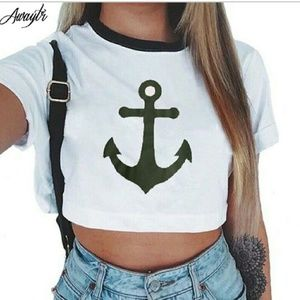Tops - Nautical Anchor Crop Top 😎☉⚓⛵