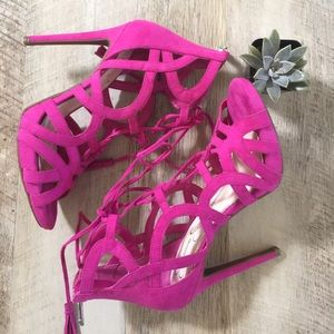 Jessica Simpson Shoes - • NWOT Jessica Simpson Pink Gladiator Heels •