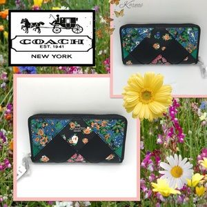 Auth COACH Floral PatchWork Accordion Zip Wallet