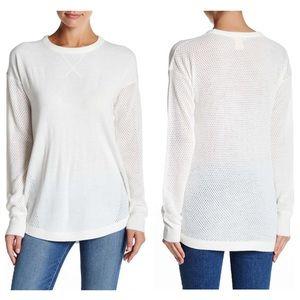 Sweet Romeo Tops - Sweet Romeo White Open Stitch Sweatshirt Sweater