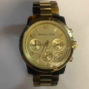 NWOT Michael Kors REAL unisex tortoise shell watch
