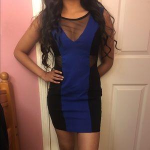 Ruby Rox Dresses & Skirts - Black and blue mesh bodycon