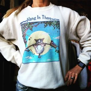 "Vintage 80's ""Hang in there"" sweatshirt USA made"