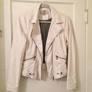 Zara Trafaluc white faux leather biker jacket
