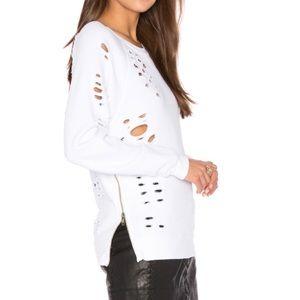 Black Orchid Tops - Distressed Side Zip Sweatshirt