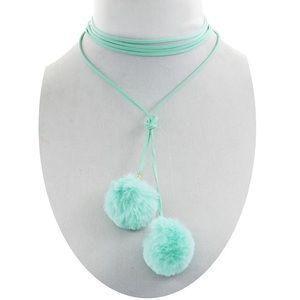 Jewelry - 🆕 minty Pom Pom fuzz balls choker