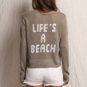 """360 Sweater Sweaters - 360 Sweater """"Life's a Beach"""" Grey Knit Linen"""