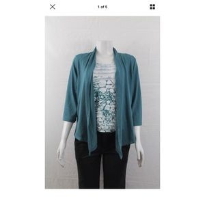 Alfred Dunner Seafoam Green Cardigan & Top Sz S P
