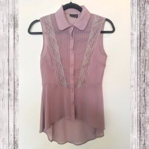 Kaii Tops - Purple Lace Chiffon Blouse