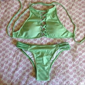 Other - Green cheeky bikini set strappy high neck