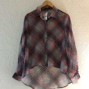 Millau Tops - Millau hi lo red and black checkerd sheer blouse