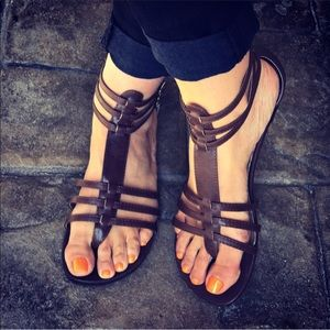 Strappy Boho Chic Coffee Gladiator Sandals