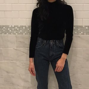 Topshop Tops - Vintage Black Velvet Turtleneck LS