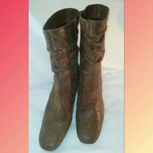 Coldwater Creek Stamped Leather Boots ~ sz7.5