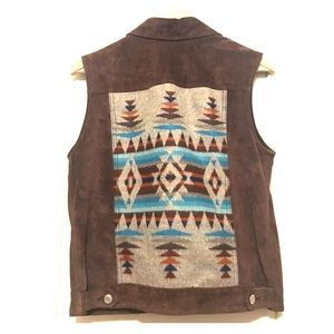 Pendleton real brown suede vest w/ patchwork