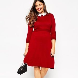 ASOS Curve Dresses & Skirts - ASOS Curve Red Dress White Collar