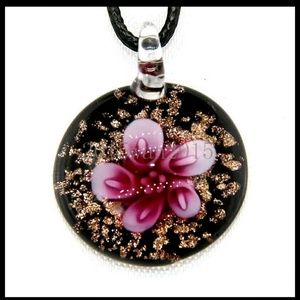 Murano Art Glass Pink Flower Pendant Necklace