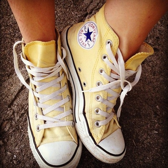 afabd4cf314c36 Converse Shoes - Rare pale mustard yellow converse high tops