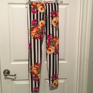 Always For Me Pants - Striped floral leggings