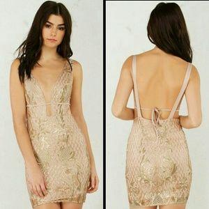 AKIRA Dresses & Skirts - AKIRA GOLD LACE UP PLUNGE DRESS