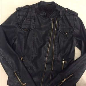 Navy, Moto faux leather jacket, size small