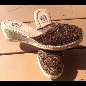 Yellow Box Shoes - YELLOW BOX Kina Beaded Closed Toe Espadrilles 8.5