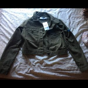 ZARA green butterfly army jacket size m
