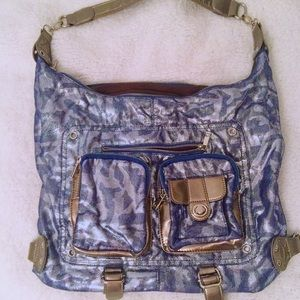 Nila Anthony Handbags - Blue and Silver Metallic Purse
