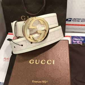 Gucci Other - 🔥 Authentic Men Gucci Belt White Monogram Gold 34