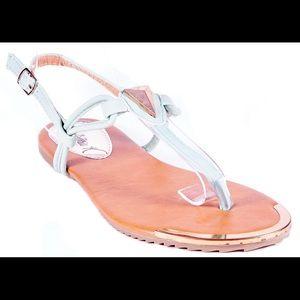 Victoria K Shoes - Women Sea Foam Slingback Thong Flat Sandals S1912