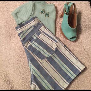 She Said Pants - Denim shorts, spring striped, vintage 90s