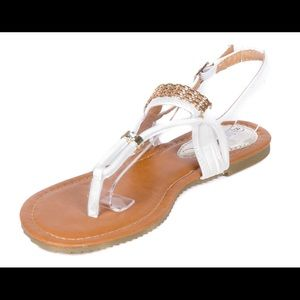 Victoria K Shoes - Women White Slingback Thong Flat Sandals S1914