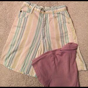 She Said Pants - Shorts, pastel striped, zipper w/ button, pockets