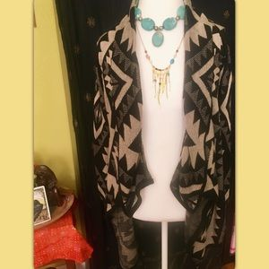 A Knitch Above Sweaters - Tribal Open Cardigan | Size Large