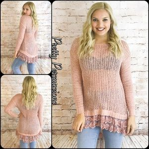 Pretty Persuasions Sweaters - NWT Blush Pink & Lace Trim Open Stitch Spring Knit