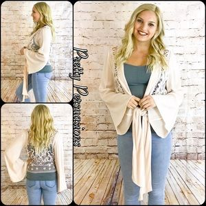Pretty Persuasions Other - LAST ONE • Bell Sleeve Crochet Tie Front Kimono
