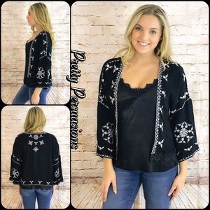 Pretty Persuasions Other - NWT Black & White Embroidered Kimono Cardigan
