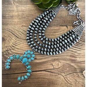 Navajo Pearl Squash Blossom Necklace